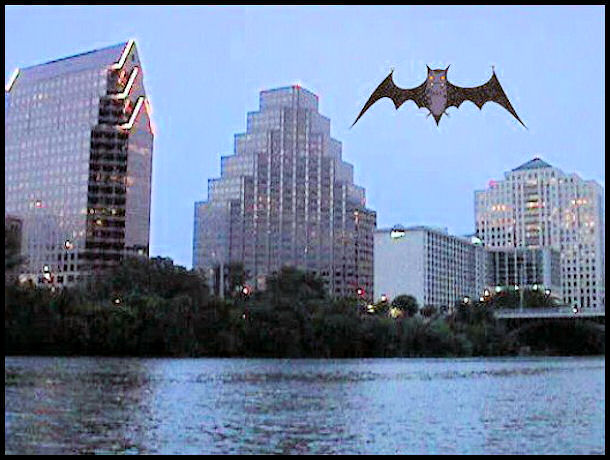 Austin skyline with Bat by L.A. Cargill