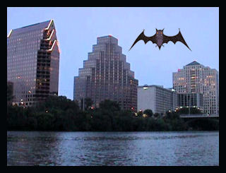 Austin Bat City, River City with mexican free tailed bats by L.A. Cargill