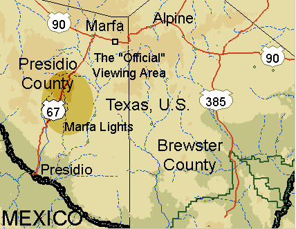 Marfa, Texas Map - wikimedia commons public domain