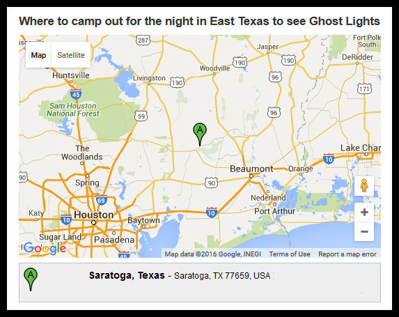 Where to camp out for the night in East Texas (screen shot by L.A. Cargill)
