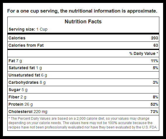 shrimp cocktail nutritional values - screen shot