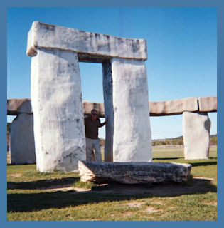 Texas Stonehenge with Bob Photo by L.A. Cargill