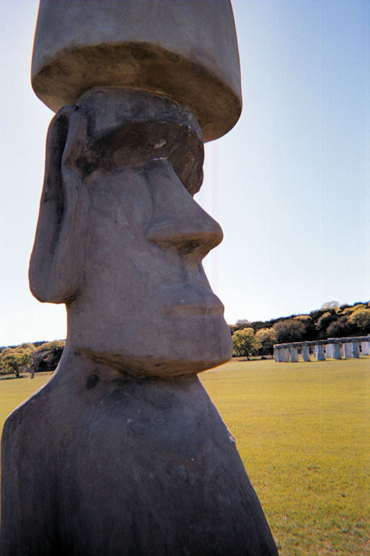 Easter Island Head at Stonehenge Texas by L.A. Cargill