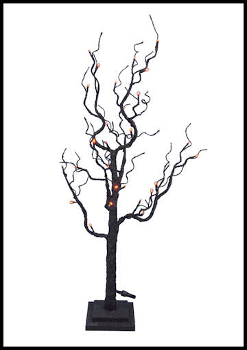 Twig tree with orange lights by Halloween Costumes at Link Share